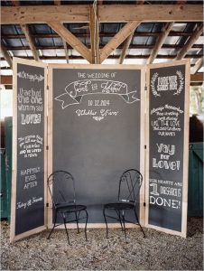 chalkboard stand photo booth